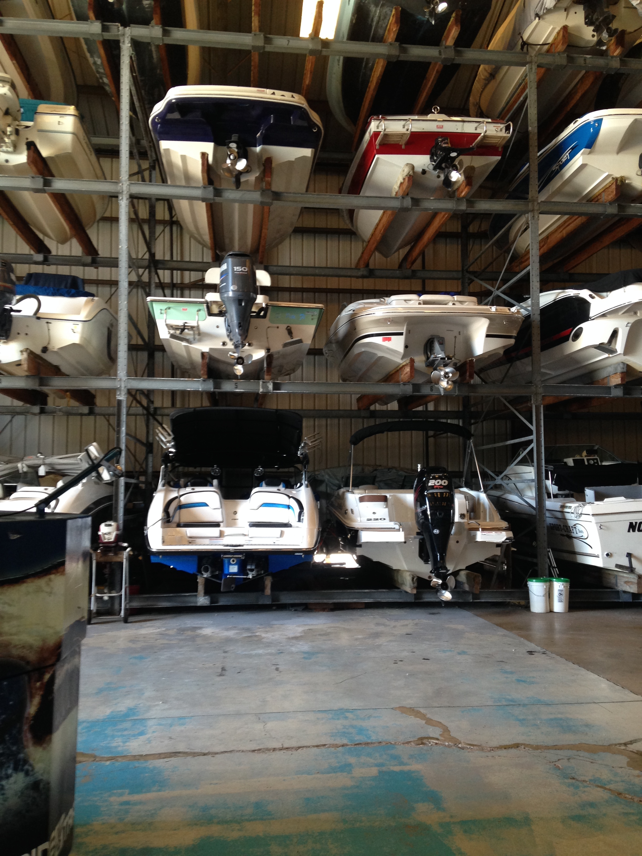 boats in high and dry storage rack